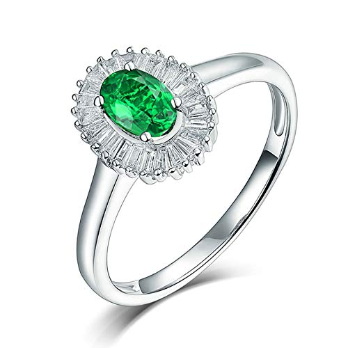 Aeici 18K White Gold Jewelry for Women,0.7 Ct Flower Emerald Jewellery Rings Women Size P 1/2 White Gold