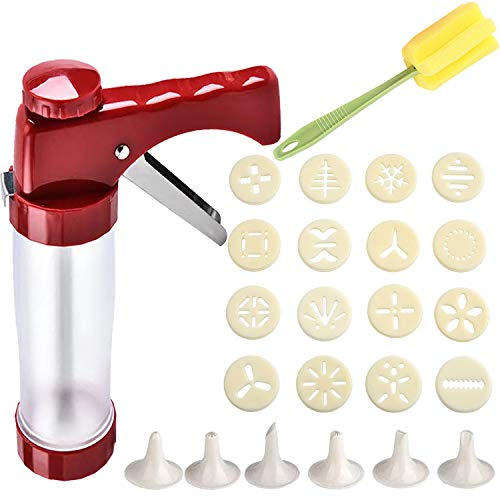 Cookie Press Gun Kit, Biscuit Maker Machine Set With 16 Cookie discs and 6 nozzles for DIY Biscuit Maker and Churro Maker