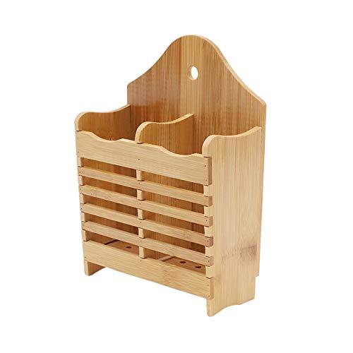 Porta utensilios de cocina Los utensilios de la cocina de bambú Los palillos del titular de los cubiertos creativos pueden colgar la rejilla de secado de utensilios con 2 compartimentos divididos Sopo