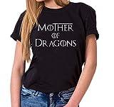 Mother of Dragons - Camiseta para Mujer de Cuello Redondo Targaryen Thrones Game of Stark Lannister Baratheon Daenerys Khaleesi TV BLU-Ray DVD, Farbe2:Negro, Größe2:Large