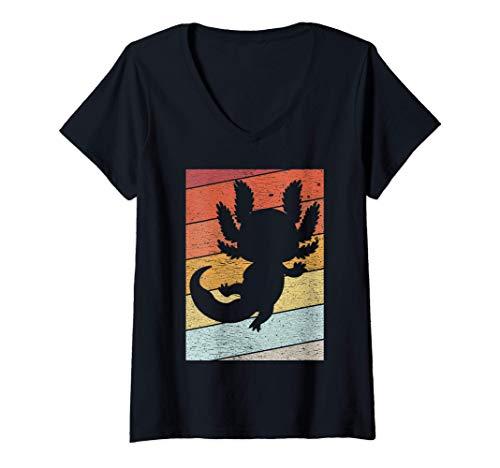 Mujer Lindo Axolotl Veneno Dueño de la mascota Kawaii Axolotl Camiseta Cuello V