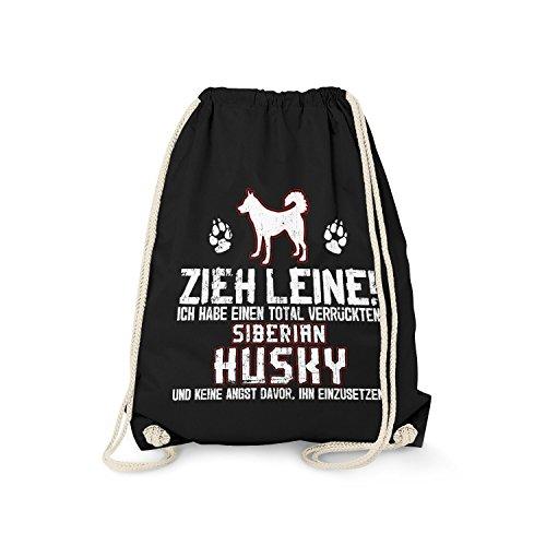 Fashionalarm Turnbeutel - Zieh Leine - verrückter Siberian Husky   Fun Rucksack mit Spruch Geschenk Idee Rasse Hunde Besitzer Sibirischer, Farbe:schwarz