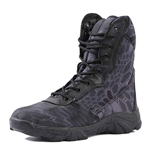 Wygwlg Bottes de Combat Militaires Camo à Lacets pour Hommes Chaussures d'entraînement de l'armée Tactique imperméables Bottines Action Desert Spec-Ops Boot,Black-40