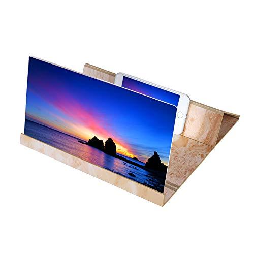 Hakeeta 3d-telefoonloep van hout, voor alle smartphones, draagbare schermloep kan als traditioneel vergrootglas worden gebruikt, Whtie.