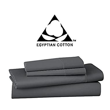 Vivendi 1000 Thread Count Egyptian Cotton 4 Piece Sheet Set, Queen, Charcoal Grey