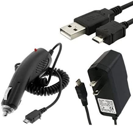 New Combo Rapid Car Charger + Home Wall Charger + USB Data Charge Sync Cable for Pantech Pocket, Hotshot, Link II, Jest 2, Breakout, Breeze III, Crossover, Kyocera DuraMax, Brio, Milano