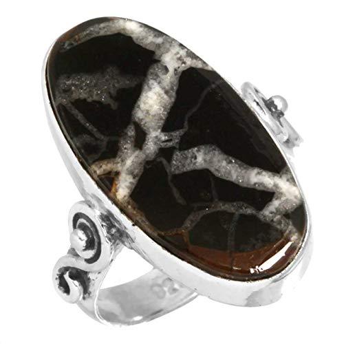 Jeweloporium Natürlich Septarian Gonaden Edelstein Ring Solide 925 Sterling Silber Handgemacht Schmuck Größe 52 (16.6)