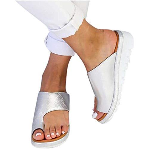 Sandalias de Plataforma Sin Cordones para Mujer, Sandalias de Juanete Chanclas con Cuña Ortopédica Zapatillas Diarias Playa Verano Playas Ligeras Zapatos de Ducha,Plata,38
