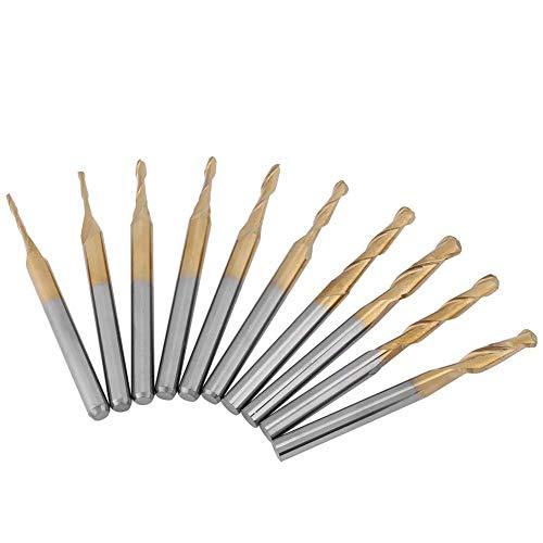 10pcs Titanium Coated Ball Nose End Mill Milling Cutter Bits Rotary Burrs Set 3.175mm Shank 1x4 1.5x6 2x8 2.5x12 3.175x12mm