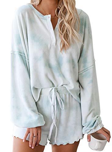 Goodthreads Women Tie Dye 1/4 Button Long Sleeve Pajama Sets Ruffle Sleepwear Front Drawstring Nightwear Loungewear Blue Small