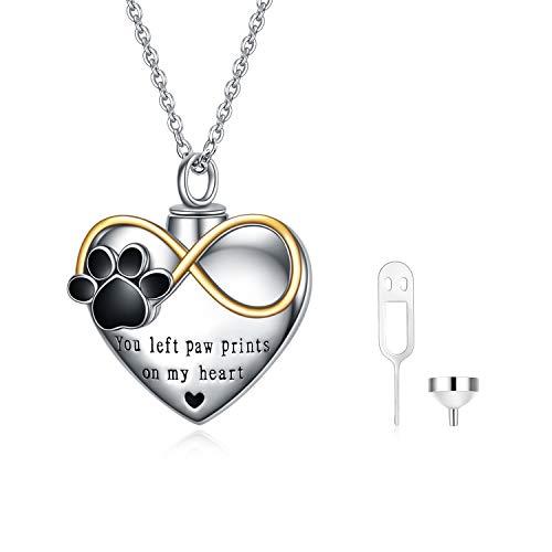 VONALA Collar de urna de animales para cenizas, plata de ley 925 con colgante de corazón con...