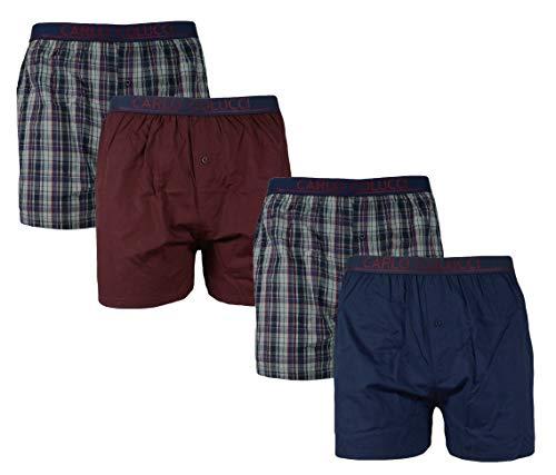 Carlo Colucci 2er Pack Herren WEBBOXERSHORTS Shorts Boxershorts Unterhose Männer Boxer, Farbe:Blau, Größe:3XL