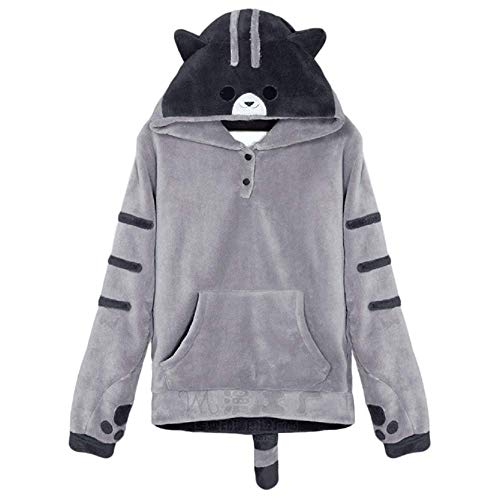 GK-O Women Cute Hooded Cat Ears Hoodie Girl Pullover Jacket Sweatshirt Coat Anime (Asian Size XL) Light Gray