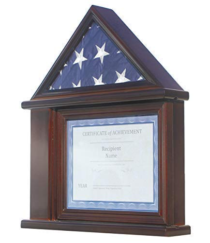 Flag Display Case Certificate Holder Frame Military Shadow Box, for a 3' X 5' Flag. NOT for Funeral-Burial Flag. (Walnut)