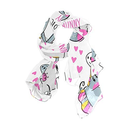Ahomy Damen Schal, Gesichter von Häschen und Regenbogen-Einhorn, modisch, lang, weich
