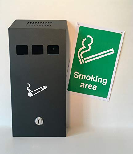 Astoria Homeware - an der Wand befestigter Außen-Aschenbecher Zigaretten-Aschenbecher für den Außenbereich. Edelstahl grau mit Verschluss. Inklusive 'Smoking Area' Schild.