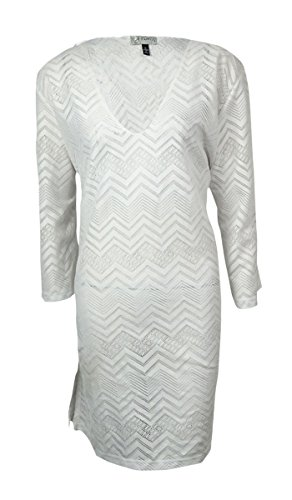 J. VALDI Womens Chevron Crochet Cover Up White Medium