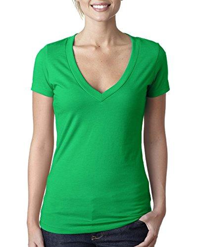 Next Level Baby Rib Knit Short Sleeve Deep V-Neck T-Shirt, Kelly Green, Large