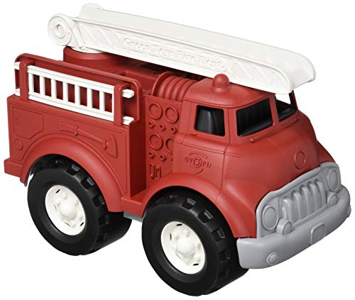 Green Toys Fire Truck, Red 4C - Pretend Play, Motor Skills, Kids Toy Vehicle. No BPA, phthalates, PVC. Dishwasher Safe, Recycled Plastic, Made in USA.