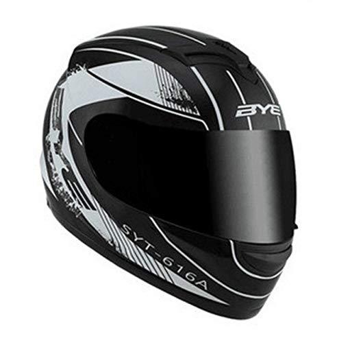 Dgtyui Nuovo casco da moto con casco da corsa fuoristrada integrale di alta qualità, buona traspirabilità, rivestimento morbido e confortevole - Una lente bianco-scura XS