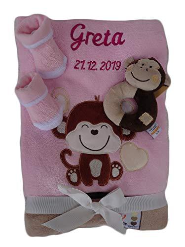 Babydecke mit Namen bestickt Babysocken Babyrassel Greifling Baby Geschenk Geburt Taufe (rosa Äffchen)