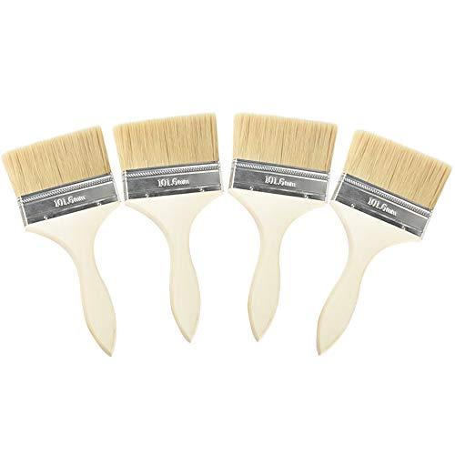 JUN-H 4 PCS Lackiere Farbpinsel Breitpinsel Lasurpinsel Premium Universal Pinsel Naturborsten Mix No Loss Pinsel für Handwerk, Hobby, Haus, Garten und Kunst (4 zoll)