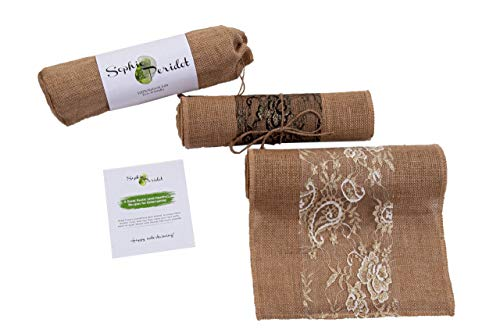 Jute Burlap Table Runner for Home Decor. Great for Farmhouse Table Dining - Rustic Look - Wedding Decoration - 12 inch x108 inch by Sophie Peridot
