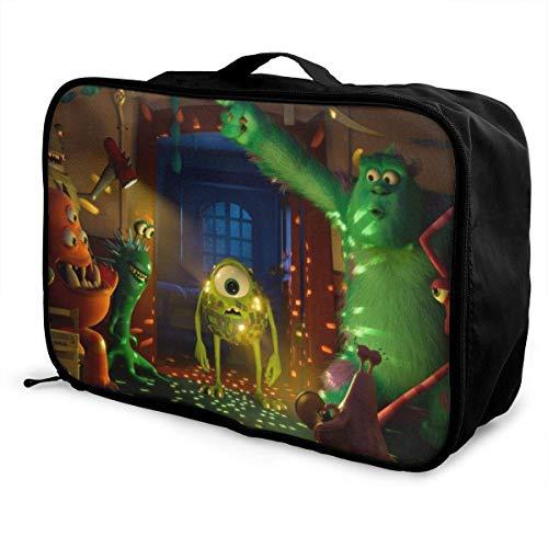 Monsters University Travel Lage Bolsa de viaje para mujeres y hombres, niños, impermeable, gran capacidad de bapa ligera, bolsas portátiles