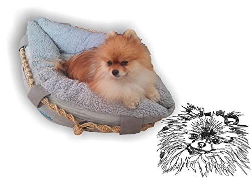 LunaChild Hundebett Hund Boot Böötchen Spitz Zwergspitz Pomeranian 1 Hundeboot Sofa Lounge Hundelounge mit Name Wunschname Snuggle Bag Größe XS S M L viele Farben Hundekorb