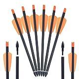 SHARROW 6/12/24/48 PCS Flechas de Carbono Tiro con Arco Flechas y saetas 8'' Spine 350 para Arco...