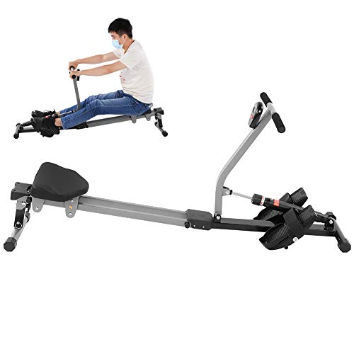 Bicaquu Adjustable Resistance 12 Level Scan Function Fitness Rower Metal Frame Seated Row Machine for...