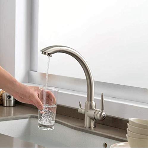 Keukenkranen Messing Keukenkranen met Filter Mixer 3-weg 360-kanaals Keukenkraan met Direct Mixer met Drank lijn, Balk Geborsteld nikkel