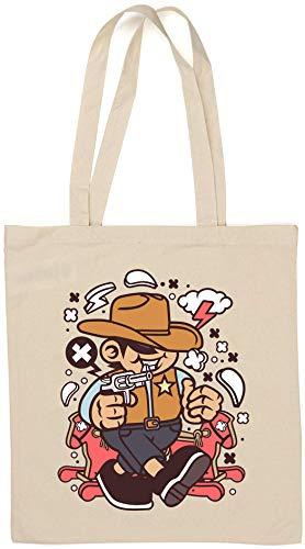 Cowboy Kid Wild West Cartoon Graphic Natural Cotton Tote Bag