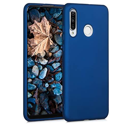 kwmobile Carcasa Compatible con Huawei P30 Lite - Funda móvil de Silicona - Protector Trasero en Azul Metalizado