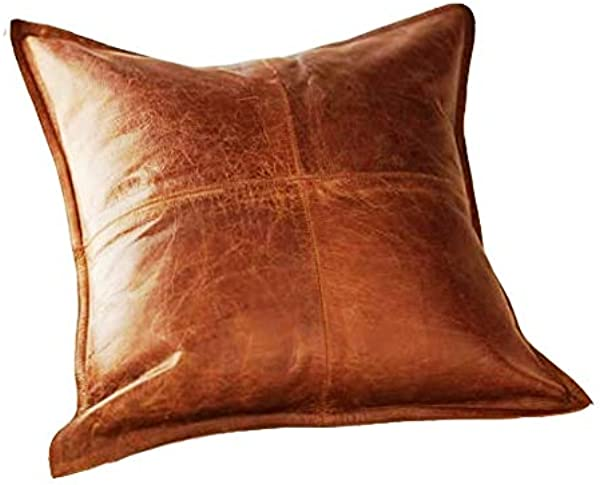 Leather Planet 100 Lambskin Leather Throw Pillow Cushion Cover Sofa Cushion Case Decorative Throw Cover For Indoor And Outdoor Box Brown 20 X 20 Inches Pack Of 1
