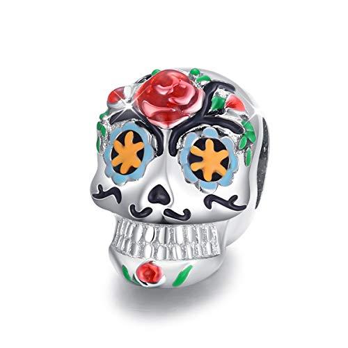 Abalorio de calavera para pulsera Pandora de plata de ley con diseño de calavera y esmaltada para Halloween, con caja de joyería