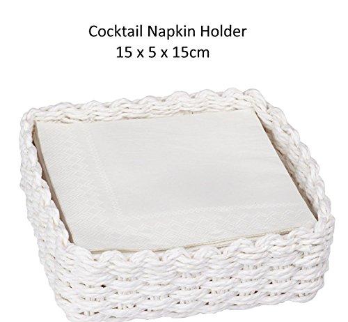 Ideal Home Range IHR–Cocktail-Servietten, Weiß, aus Geflecht nh8090