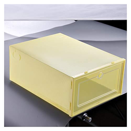 Jixi Zapatero para el hogar, caja de almacenamiento plegable y transparente, organizador de zapatos apilable de plástico, apilable, ahorro de espacio (color: amarillo S)