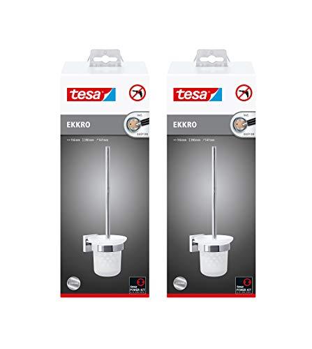 POWERHAUS24 Lot de 2 balais de WC Tesa Ekkro ou Smooz avec kit de Fixation adhésive Chromé
