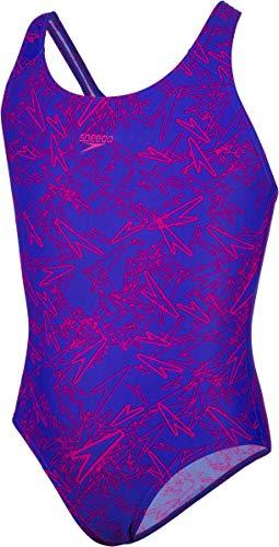 Speedo Mädchen Boom Allover Splashback Badeanzug, Chromblau/Elektrisch Pink, 32 (DE 164 cm)