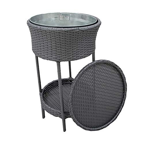 Outdoor Cooler Ice Bucket, Patio Wicker Storage Poolside Deck Beverage Cooler Table with Lid,for Terrace, Porch, Poolside, Garden, Restaurant, Hotel,Brown