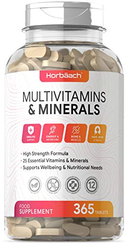 Multivitamin & Minerals Complex | 365 Vegan Tablets | High Strength | with Vitamin C, D3, B, Zinc & More! | 25 Actives | Non-GMO, Gluten Free Supplement for Men & Women