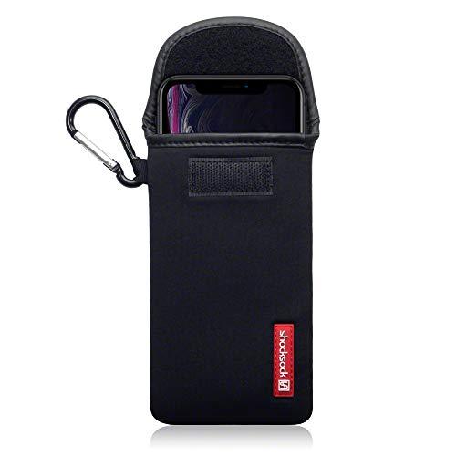 shocksock, Kompatibel mit iPhone XR Neopren Tasche mit Carabiner Hülle - Schwarz