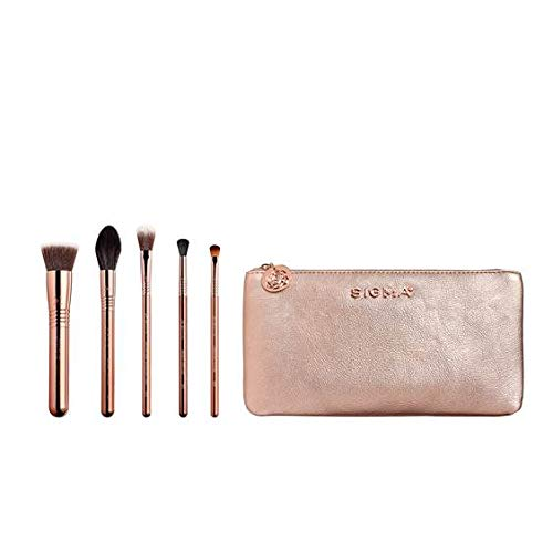 Sigma Beauty Iconic Rose Gold Brush Set, Set of 5 Makeup Brushes and Makeup Bag Iowa