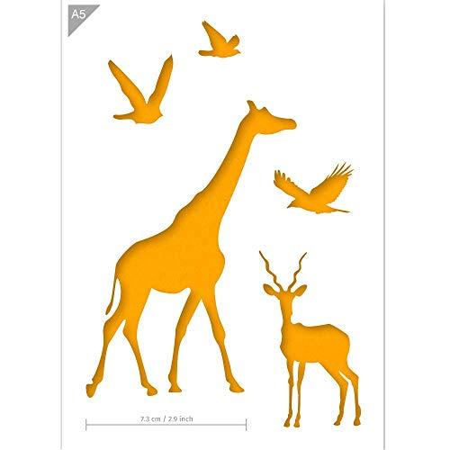 QBIX Afrikanische Tiere Schablone, Giraffe, Gemsbok, Vogel, A5 Größe, wiederverwendbar, kinderfreundliche Schablone zum Malen, DIY Schablonen, Basteln, Kuchen, Wand, Airbrush, Möbel
