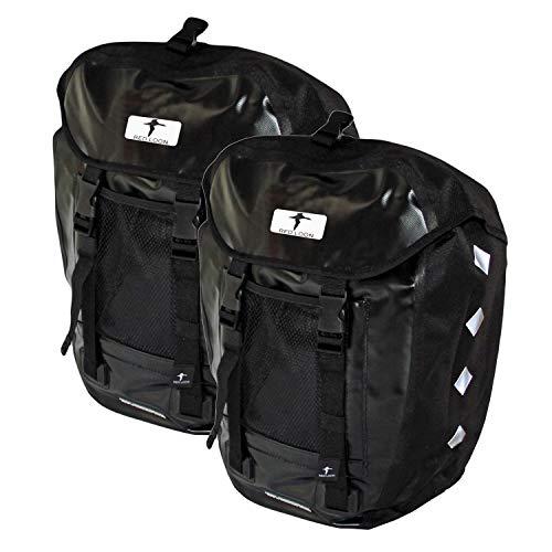 Red Loon 2 x Pro robuste Fahrradtasche aus LKW-Plane – wasserdichte Doppelpacktasche für Gepäckträger in schwarz