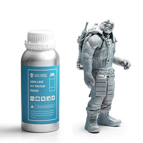 SainSmart ABS Like Tough Colored Resin for LCD/MSLA 3D Printers, 405nm UV-Curing Rapid Resin, Low Odor, 500g Grey