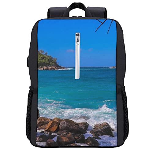 LUDOAN Mochila del viaje, Islas Seychelles Nature.Africa,bolso durable delgado antirrobo del ordenador portátil del negocio con el puerto de carga