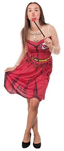 Brandsseller Mujer Disfraz–Pop Art–Vestido con Pelo Maduro y Beso Accesorio–Soltero de Carnaval