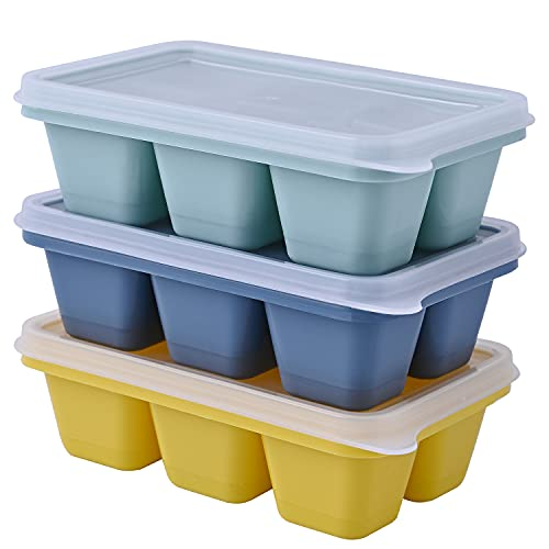 Theone 3 Packs Eiswürfelschale, leicht zu lösende Silikoneisformen mit abnehmbaren Deckeln, perfekt für Getränke, Gefrierschrank, , Whisky und Cocktail, LFGB-zertifiziert und BPA-frei(Gelb+Grün+Blau)